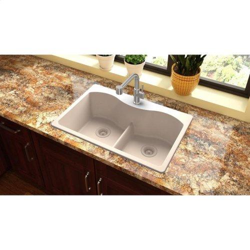 "Elkay Quartz Classic 33"" x 22"" x 9-1/2"", Equal Double Bowl Drop-in Sink with Aqua Divide, Putty"