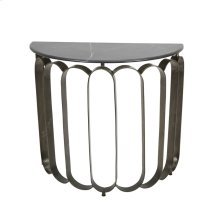 "Iron 33"" Demilune Console W/marble Top, Black"