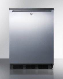 Commercially Listed Built-in Undercounter All-refrigerator for General Purpose Use, Auto Defrost W/ss Wrapped Door, Horizontal Handle, Lock, and Black Cabinet