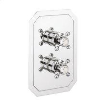 Belgravia 1000 Thermostatic Valve Trim With Single Integrated Volume Control and Cross Handles - Polished Chrome