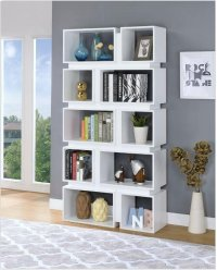 - Five tier, ten shelf bookcase finished in white- Constructed with MDF, particle board, and engineered veneer- Also available in cappuccino (#801449) Product Image