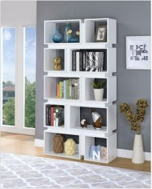 - Five tier, ten shelf bookcase finished in white- Constructed with MDF, particle board, and engineered veneer- Also available in cappuccino (#801449)