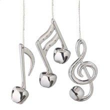 Silver Bell Music Note Ornament (3 asstd).