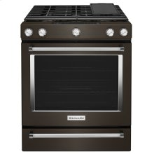 OPEN BOX 30-Inch 5-Burner Gas Slide-In Convection Range - Black Stainless