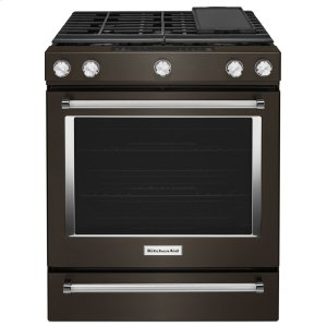 Kitchenaid30-Inch 5-Burner Gas Slide-In Convection Range - Black Stainless Steel With Printshield™ Finish