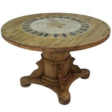 "48"" Round Ped Table W/Stone and Star"
