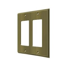 Switch Plate, Double Rocker - Antique Brass