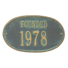 Founded Date Personalized Plaque - Bronze Verdigris