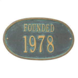 Founded Date Personalized Plaque - Bronze Verdigris Product Image