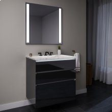 """Curated Cartesian 24"""" X 7-1/2"""" X 21"""" and 24"""" X 15"""" X 21"""" Three Drawer Vanity In Tinted Gray Mirror Glass With Tip Out Drawer, Slow-close Plumbing Drawer, Full Drawer, Night Light and Engineered Stone 25"""" Vanity Top In Silestone Lyra"""