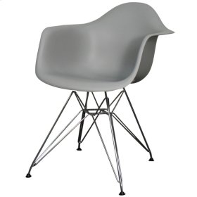 Carl Molded PP Arm Chair Chrome Wire Legs, Gray