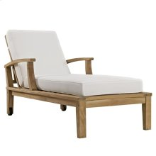 Marina Outdoor Patio Premium Grade A Teak Wood Single Chaise in Natural White