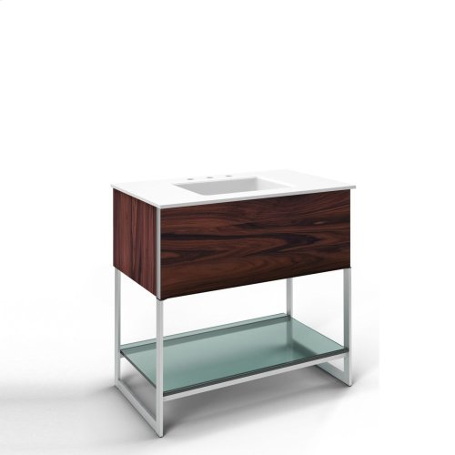 """36-1/4"""" X 34-3/4"""" X 21"""" Vanity In Santos Rosewood With Slow-close Plumbing Drawer, Legs In Brushed Aluminum and 37"""" Stone Vanity Top In Quartz White With Integrated Center Mount Sink and 8"""" Widespread Faucet Holes"""