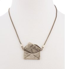 BTQ Burnished Gold Envelope Necklace
