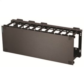"""Mighty Mo 6 Horizontal Cable Management Panel, multiple fingers, cover, 4 rack units (7.0"""" x 19""""), black"""