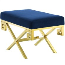 Rove Velvet Performance Velvet Bench in Gold Navy