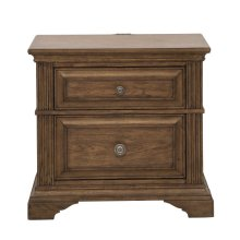 Nightstand with Two Drawers and USB Port