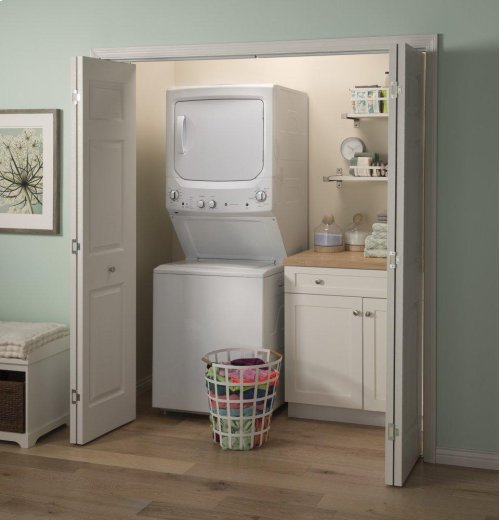 GE Unitized Spacemaker® 3.8 DOE cu. ft. Capacity Washer with Stainless Steel Basket and 5.9 cu. ft. Capacity Long Vent Electric Dryer
