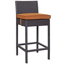 Convene Outdoor Patio Fabric Bar Stool in Espresso Orange