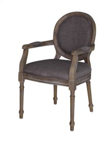Grayson Rustic Wood and Gray Linen Chair