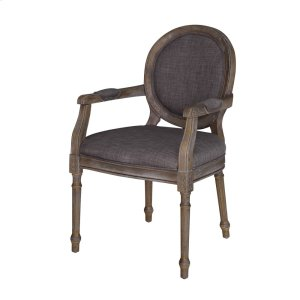 CRESTVIEW COLLECTIONSGrayson Rustic Wood and Gray Linen Chair