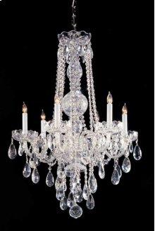 Traditional Crystal6 Light Swarovski Strass Crystal Chrome Chandelier