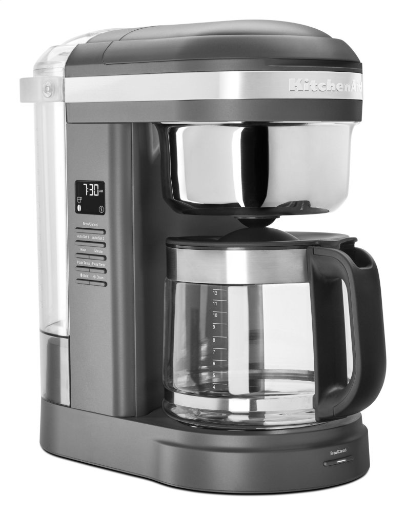 12 Cup Drip Coffee Maker with Spiral Showerhead and Programmable Warming Plate - Matte Charcoal Grey  MATTE CHARCOAL GREY