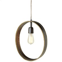Oval Galvanized Frame Pendant with Gold Edge. 60W Max. Plug-in with Hard Wire Kit Included.