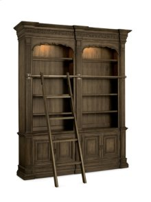Double Bookcase with Ladder and Rail