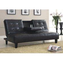 BLACK PU SOFA BED