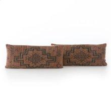 "12x28"" Size Tribal Print Rust Pillow, Set of 2"