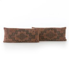 Lumbar Style Tribal Print Rust Pillow, Set of 2