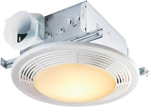 100 CFM Fan/Light with Glass Lens and White Polymeric Grille; 100-watt Incandescent Lighting and 7-watt Nightlight Product Image