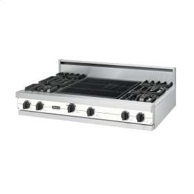 "Cotton White 48"" Sealed Burner Rangetop - VGRT (48"" wide, four burners 24"" wide char-grill)"