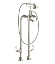 Traditional Floor Mount Bathtub Faucet with Landfair Lever Handles - Brushed Nickel