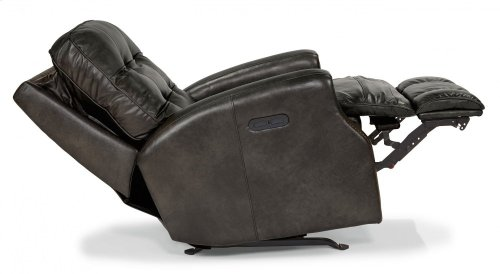 Devon Leather Power Rocking Recliner with Power Headrest and Nailhead Trim