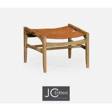 Midcentury Style Slung Leather & Light Oak Stool or Footstool