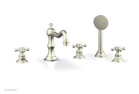 HENRI Deck Tub Set with Hand Shower with Cross Handles 161-48 - Satin Nickel