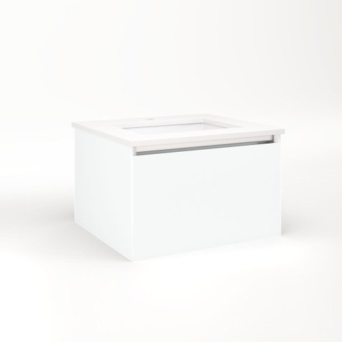 """Cartesian 24-1/8"""" X 15"""" X 21-3/4"""" Single Drawer Vanity In Matte White With Slow-close Plumbing Drawer and Night Light In 5000k Temperature (cool Light)"""