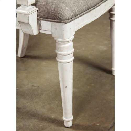 Elizabeth - Upholstered Ladderback Arm Chair - Smokey White Finish