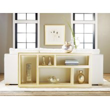 Horizontal Abstract Bookcase, Painted Antique Cream W/ Gold Leaf Detailing.
