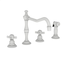 Matte White Kitchen Faucet with Side Spray