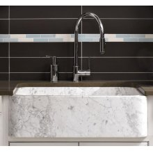 """Polished & Honed Front Farmhouse Sinks 33"""" Width / Carrara Marble"""