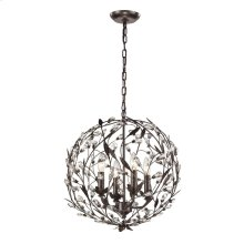Circeo 4-Light Pendant in Deep Rust with Crystal
