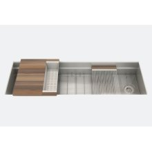 "SmartStation 005455 - undermount stainless steel Kitchen sink , 60"" × 18 1/8"" × 10"" (Walnut)"