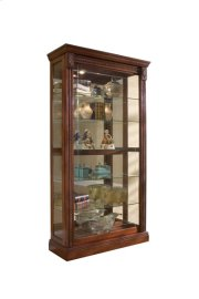 Lighted Sliding Door 5 Shelf Curio Cabinet in Cherry Brown Product Image