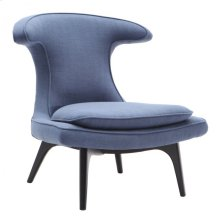 Armen Living Aria Chair in Black Wood finish with Blue Fabric upholstery