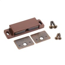 "15 lb Double Magnetic Catch Brown/Bronze Retail Pack. Polybagged with 1 Catch, 2 Strike Plates, 2 - #5 x 5/8"" Flat Head Screws and 2 - #6 x 3/4"" Pan Head Screws"