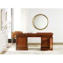 French Modern Desk, Rosewood Veneer. Solid Brass Hardware.