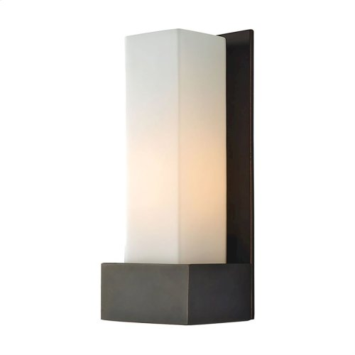 Solo w Large Backplate 120V Sconce. White Opal shade / Oil-Rubbed Bronze finish.